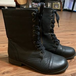 Rampage Black Lace Up Combat Boots
